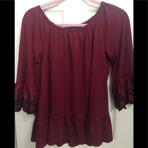 Fever brand burgundy top.